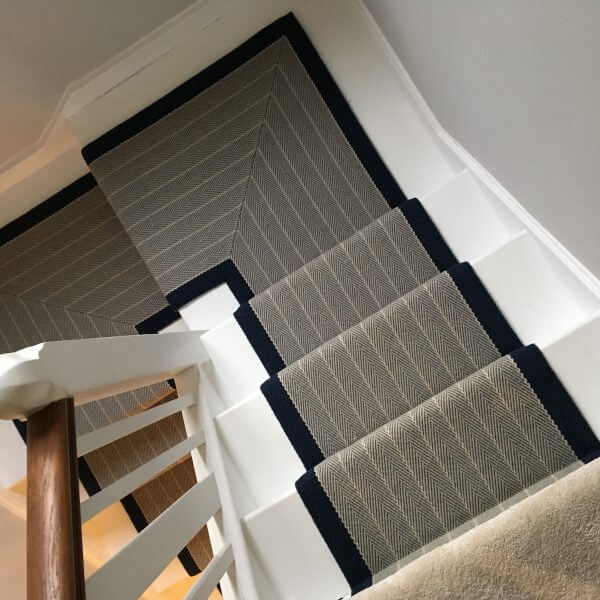 Grey & Navy Stair Runner | The Silkroad