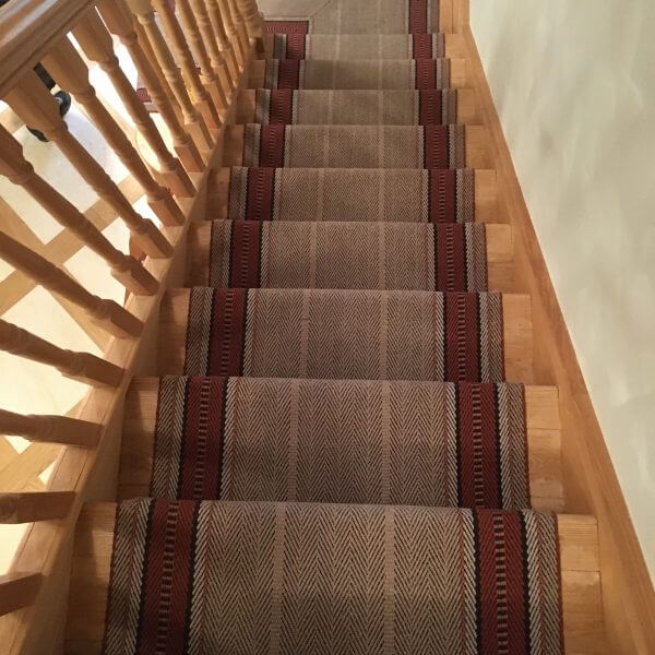 Maroon & Grey Striped Stair Runner | The Silkroad