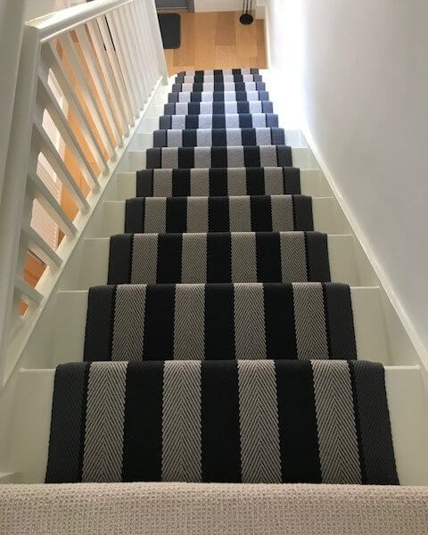 Navy & Grey Stair Runner | The Silkroad